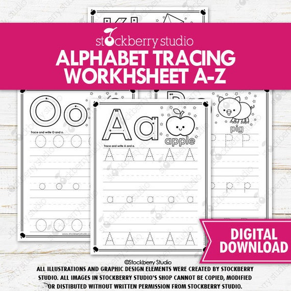 Alphabet Tracing Worksheets Printable Phonics Literacy ABC Tracing Letters  Alphabet Worksheets Preschool Kindergarten Pre-k By Stockberry Studio  Catch My Party