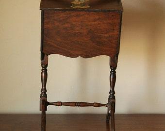 Wooden Sewing Basket Stand   Country Cottage Decor   Craft Supplies Storage  Cabinet   Yarn Holder