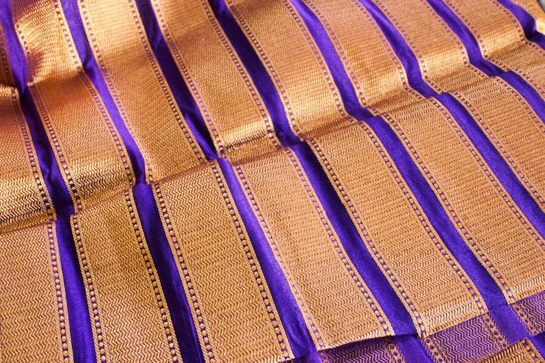 Luscious Purple /& Gold 1 yard of Silk Brocade Fabric in purple and gold stripes