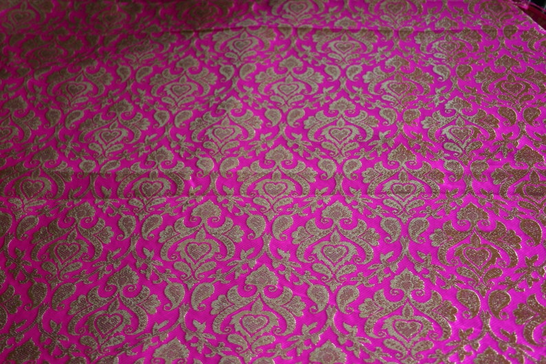 1 yard of Silk Brocade Fabric Pink Paisley Party