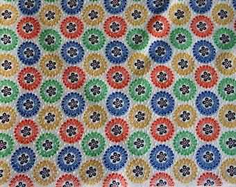 Multicolor petals  - Vintage Kimono Silk Fabric (30.5 x 14 inches)