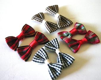 Kawaii tartan checker bows - Japanese Bow Appliques (4 pairs - 8 pieces total)
