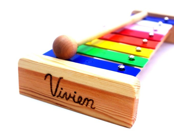 Wooden Toy Xylophone Kid's PERSONALIZED Musical Instrument Waldorf Montessori Music Play