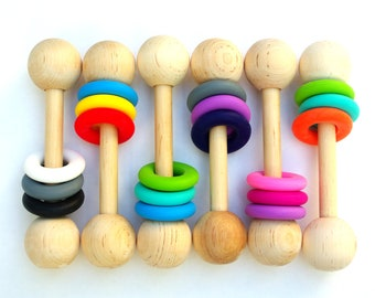 Wooden Rattle Teething Toy New Baby Gift PERSONALIZATION Option