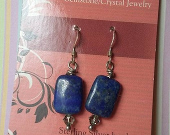 Genuine Lapis, swarovski crystal ends, sterling silver earhooks.