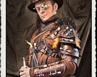 Brown leather shoulder armor - Alchemist -