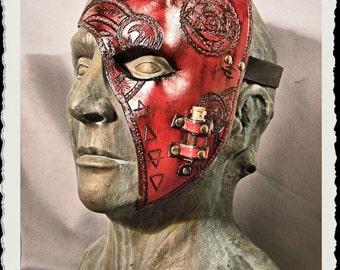 Red leather half mask - Alchemist -