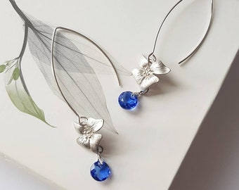 Floral Hoop Earrings, Sapphire Blue Drop Earrings, Silver Flower Dangles, Nature Lover Gift, Herbalist Earrings, Dainty Jewels for Her