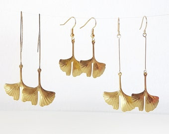 Ginkgo Leaf Earrings, Gold Ginkgo Hoop Earrings, Raw Brass Leaf Dangles, Long Ginkgo Biloba Earrings, Nature Lover Gift, Herbalist Jewelry