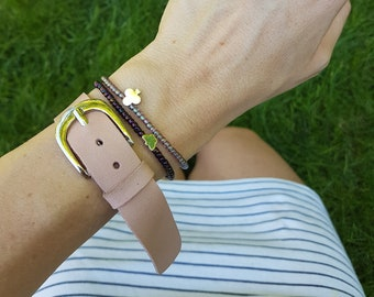Blush Pink Leather Bracelet, Wide Leather Cuff, Leather Jewelry with Silver Belt Buckle, Versatile Stacking Up-cycled Bangle, Nude Pink Cuff