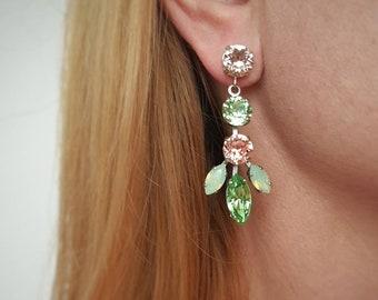 Green Statement Earrings, Rhinestone Earrings, Chandelier Bold Dangles, Swarovski Long Earrings, Bridal Wedding Jewelry, Prom Earrings