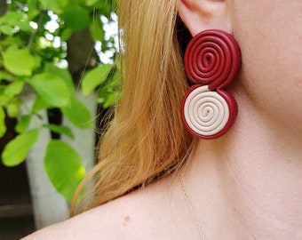 Statement Spiral Earrings in Burgundy Red Leather, Contemporary Coil Earrings, Oversized Funky Croissant Posts, Bold Artsy Leather Jewelry