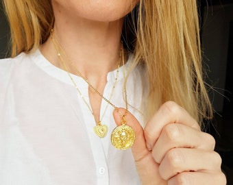 """Gold Lion Necklace, Large Coin Medallion, Leo Zodiac Pendant, 20"""" Long Chain Necklace for Layering, Wild Animal Charm Necklace, Chunky Coin"""