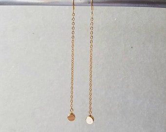 Super Long Chain Drop Earrings, Gold Plated Dangles, Elegant Stylish Everyday Jewelry, Golden Chain Dainty Dots, Minimalist Daily Accessory