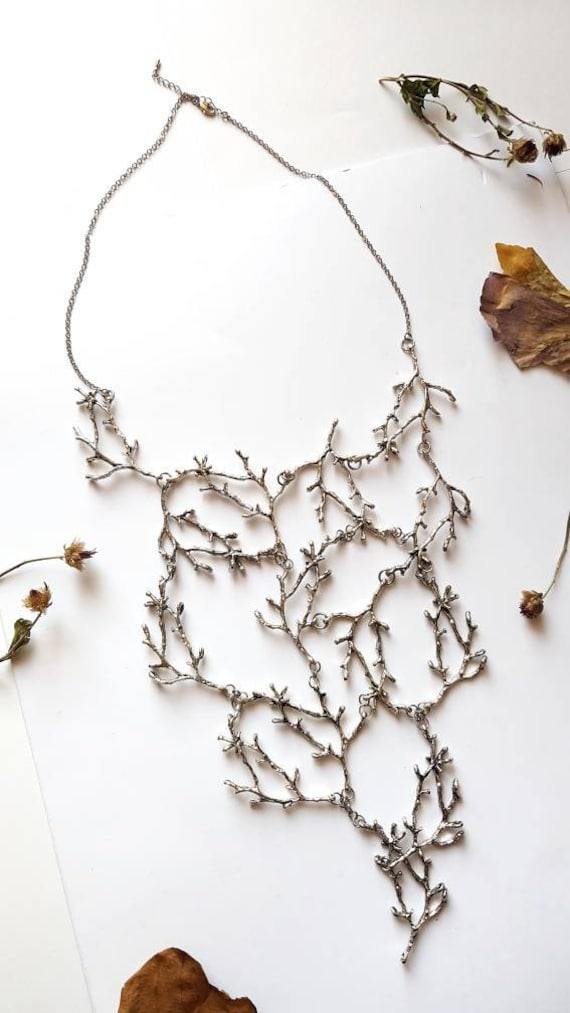 Nature Jewelry Woodland Forest Jewelry Copper Toned Cascading Necklace Branch Bib Necklace Statement Twig Necklace Metal Tree Necklace