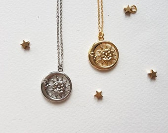 Day and Night Coin Necklace, Sun and Moon Pendant,  Symbolic Celestial Jewelry, Large Sunburst Charm, Moon Layering Necklace, Astrology Gift