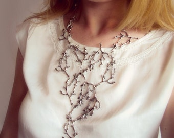Statement Twig Necklace, Silver Branch Collar, Cascading Nature Jewelry, Woodland Forest Wedding, Long Metal Bib, Bold Tree Unisex Necklace