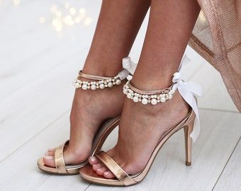 Wedding Barefoot Anklet, Bridal Foot Jewelry, Pearl Anklet, Beach Wedding, Barefoot Sandals, Beaded Anklet, Bridal Shower, Foot Jewelry/REI/