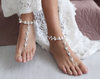 Barefoot Sandals Wedding, Beach Wedding, Pearl Anklet, Pearl Foot Jewelry, Destination Wedding, Anklet, Wedding Shoes, Foot Jewelry /IDELLA/