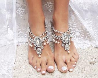 Barefoot Sandals, Beach Wedding, Barefoot Sandal, Destination Wedding, Foot Jewelry, Barefoot Sandal Wedding, Wedding Shoes, Anklet /MALINA/