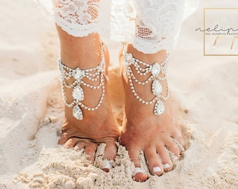 Rhinestone Anklet, Bridal Barefoot Sandals, Boho Slave Anklet, Beach Wedding Feet Jewelry, Ankle Bracelet, Destination Wedding, Gift /AFIA/