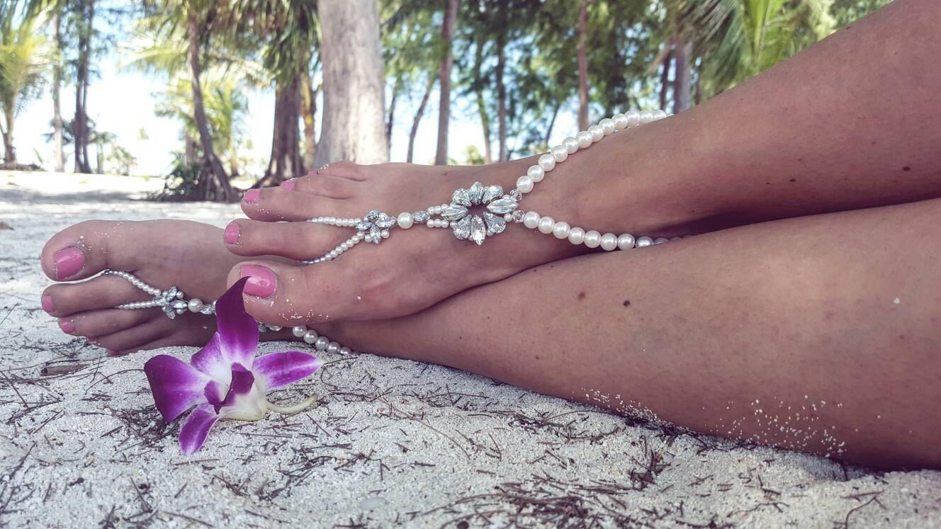 5eaee006694a9 Beach Wedding Barefoot SandalsPearl Barefoot SandalsBridal