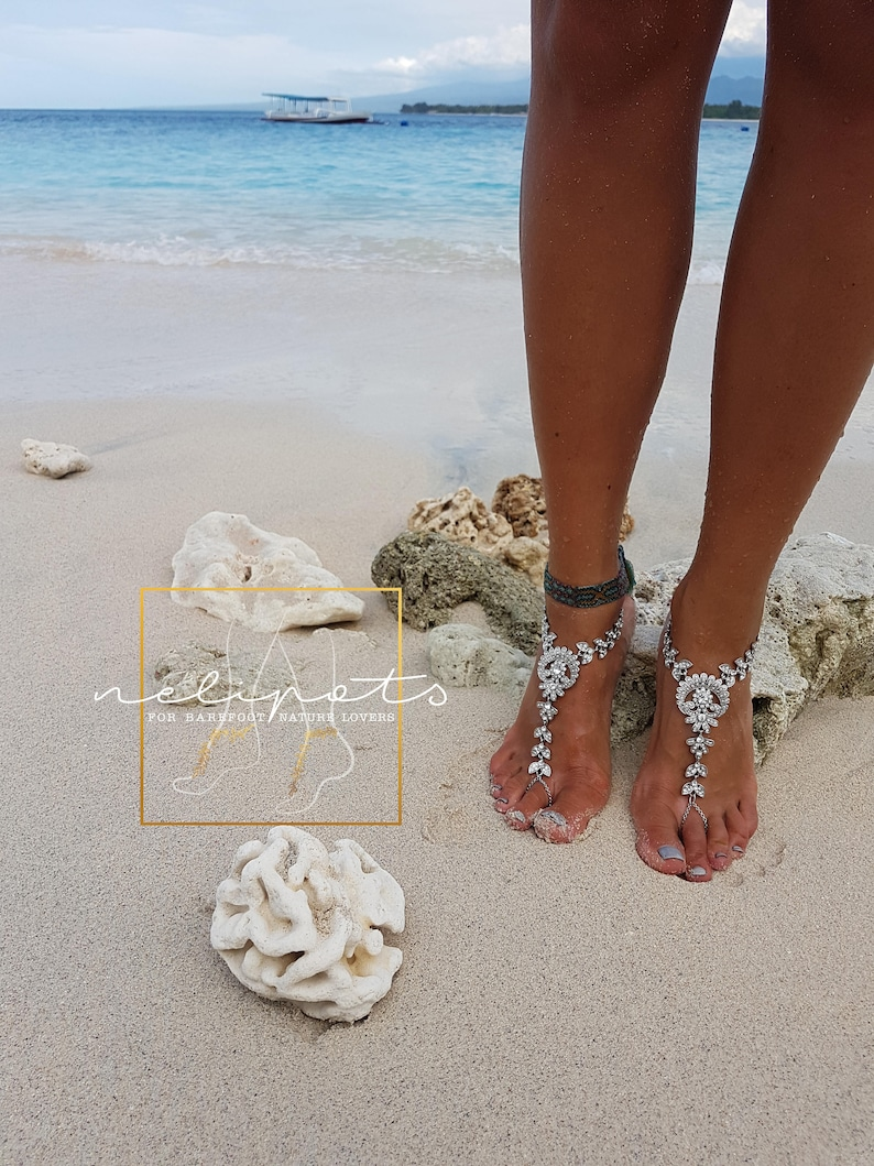 Barefoot Sandals,Rhinestone Wedding Foot Jewelry,Soleless Shoes,Bohemian Anklet Boho Crystal Foot Jewelry,ULULANY design
