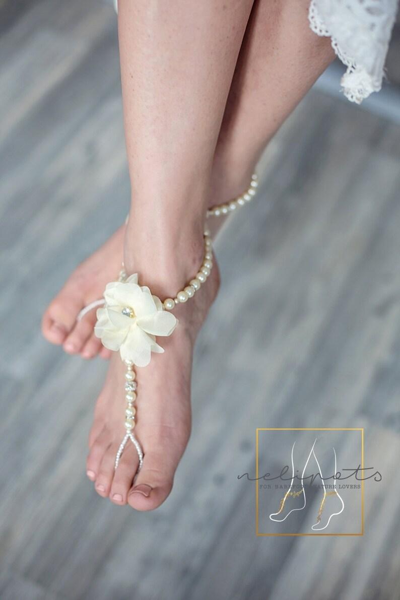 bdef0d7422ebe Beach Wedding Barefoot SandlesFlower Barefoot Slave