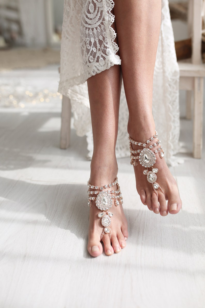 17c4cd32565b1 Beach Wedding Barefoot Sandals Bridal Beaded Anklet Boho