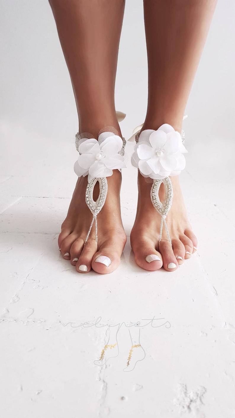 3214b89ca54 Barefoot Sandals Flower Sandals Bridal Sandals Anklet