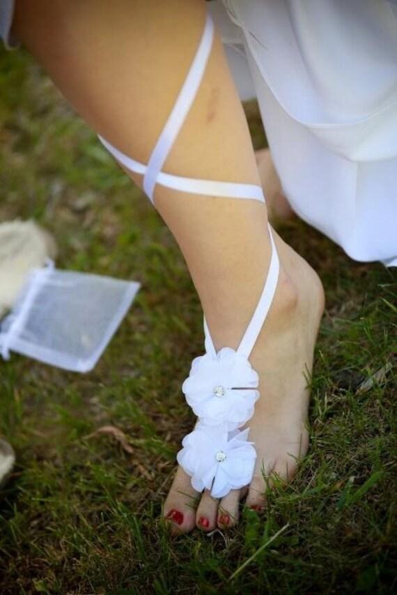 9da3b71931189 Beach Wedding Barefoot SandalsFlower Nude ShoesBridal