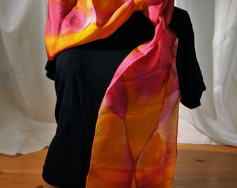 """Hand-Painted 100% Silk Scarf. Orange Red Pink Gold. Size 8x72"""" 2012 Closeout"""