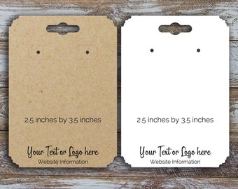 Jewelry Display Cards Custom 2.25 inches by 3.5 inch Round Corner Earring Cards Custom Labels