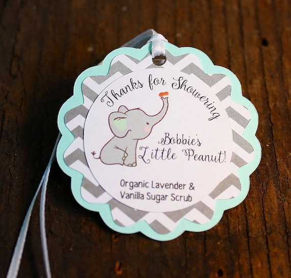 Elephant Themed Baby Shower Tag Personalized Gift Tags Or Etsy