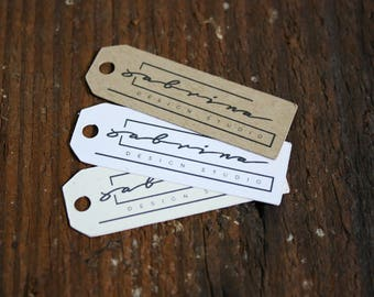 Custom  tags - 1.9 inch by .65 inch, Customized Small Price Tags, Jewelry Hang Tags, Labels, retail pricing