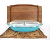 Vintage Americana Blue Solid Turquoise Color Divided Dish with Lid Serving Casserole