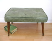 Mid Century Footstool Vinyl Rectangle Foot Stool Ottoman Grey Green Sage 1960s