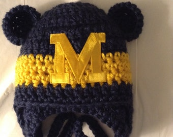 417cdc39a86 Michigan Baby hat for Newborn to 12 months