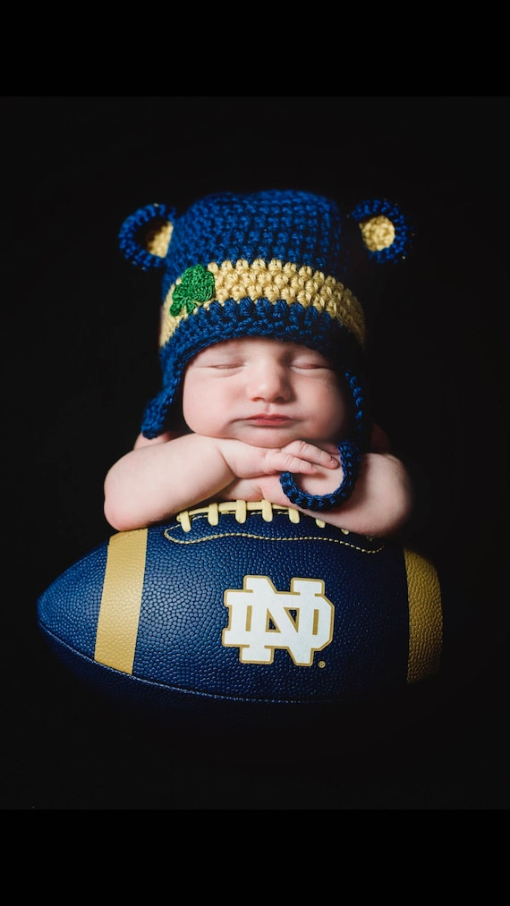 ff465d157ce Notre Dame Baby hat for Newborn to 12 months Notre Dame