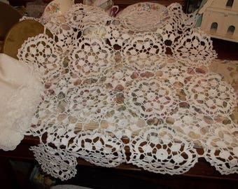 Vintage White Crochet Centerpiece 26 Inches Square Table Topper JUST REDUCED