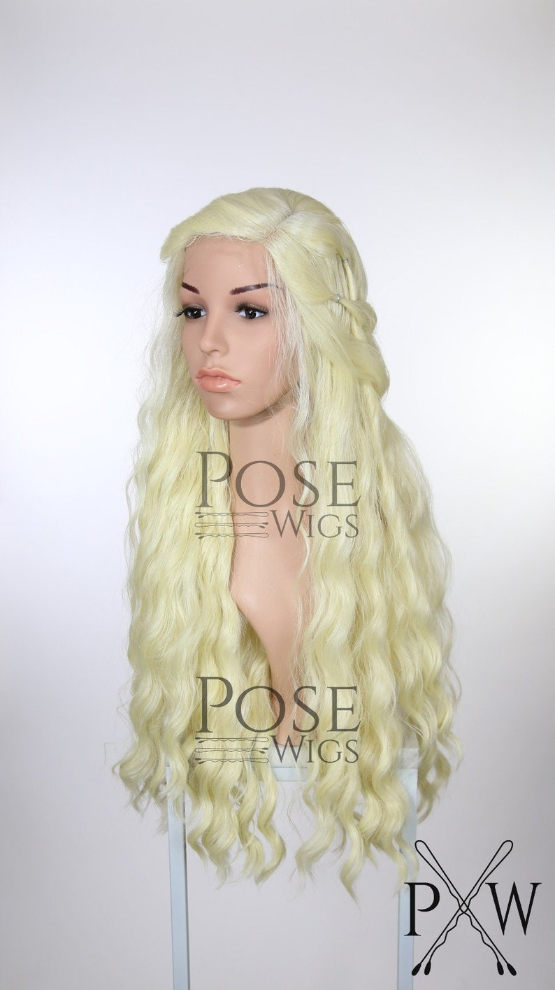 b30b2224c59 Lace Front Wig Wedding Style & Long, Curly Light Blonde Hair / Halloween  Costume Daenerys Khaleesi Game of Thrones Cosplay / Queen Series