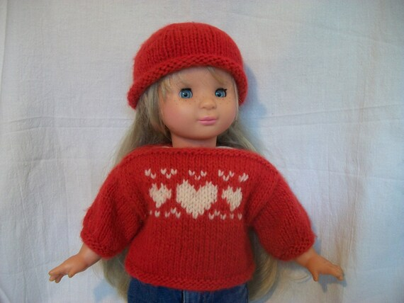 American Girl Doll Knitting Pattern Heart Sweater And Hat Pdf Etsy