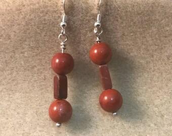 Red Jasper Earrings, Dangle Earrings, Drop Earrings, Gemstone Earrings, Beaded Earrings, Gifts for Her, Best Friend Gift, Boho Earrings
