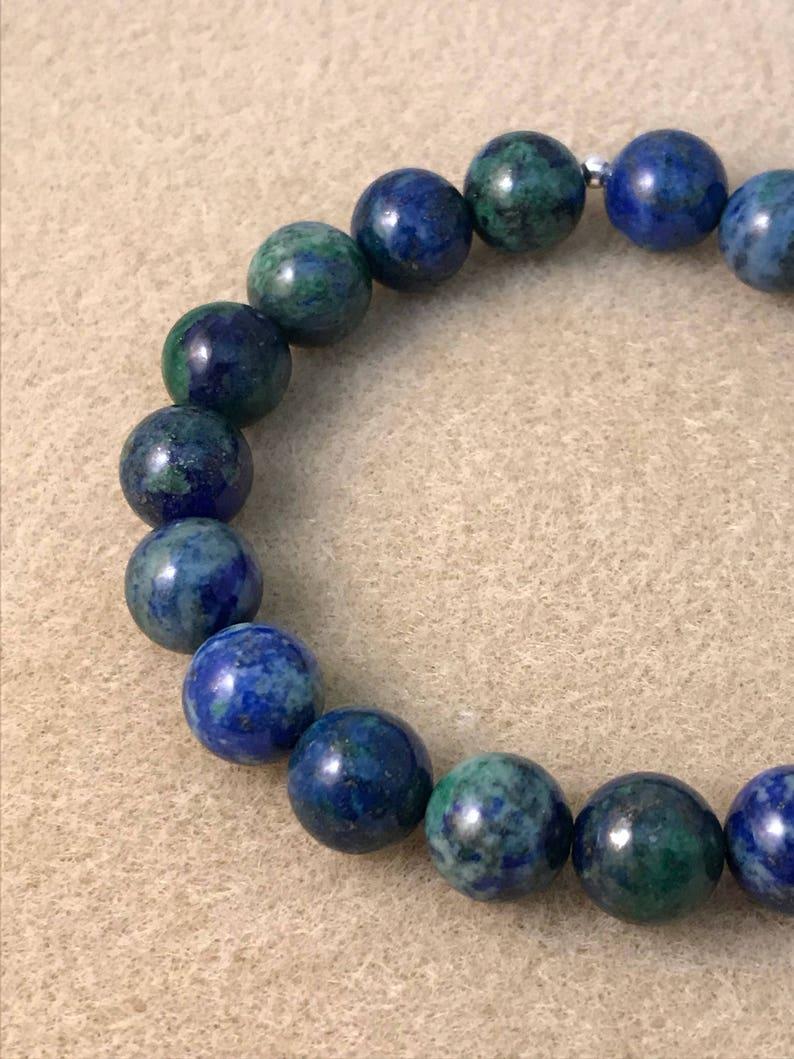 11mm Stretch Beaded Bracelet Azurite Bracelet Genuine Azurite Malachite Jewelry Mens Womens Unisex