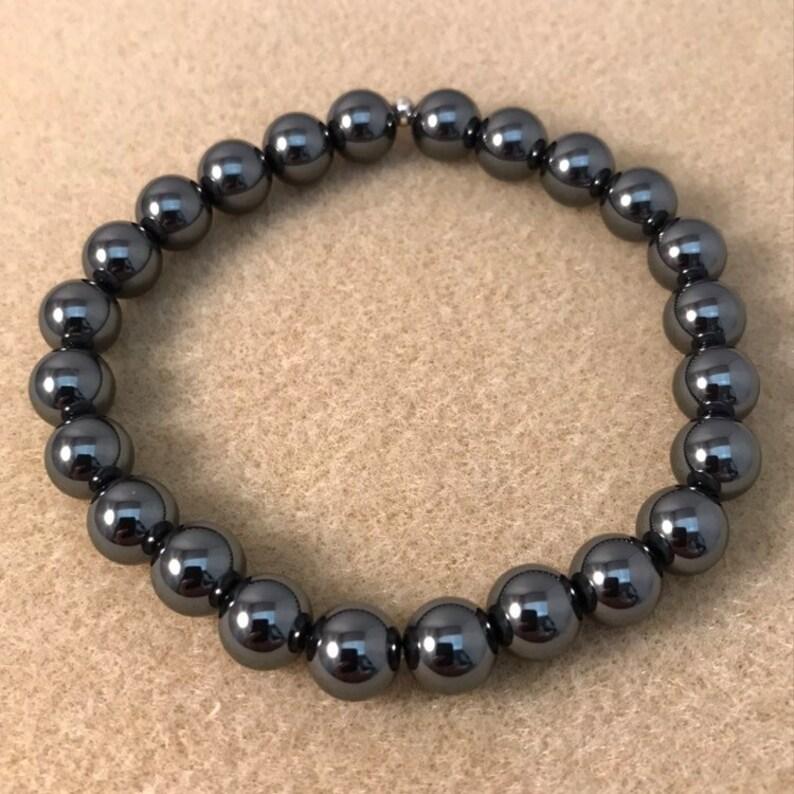 8mm Beaded Gemstone Stretch Bracelet Hematite Bracelet Mens Womens Unisex Genuine Hematite Jewelry
