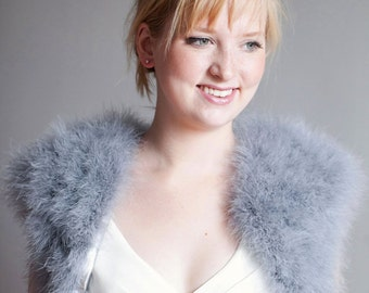 Sample Sale Grey Marabou Feather Bolero Jacket