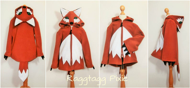 166585e30d75 FOX HOODIE Kids Baby Costume Animal Fleece Jacket Fancy