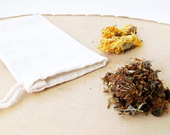 Organic Cotton Tea Bags - 3 x 5 in, Muslin, Re-Usable, 3pcs, Herb, Herbal, Potpourri, Sachet