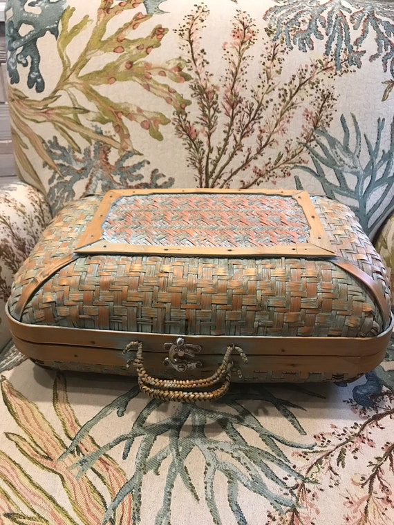 Vintage Bamboo Rattan woven Suitcase