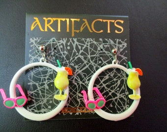 Vintage JJ Earrings -Tropical Margarita-Jonette Jewelry collectible- Artifacts 1986- unique gift under 10